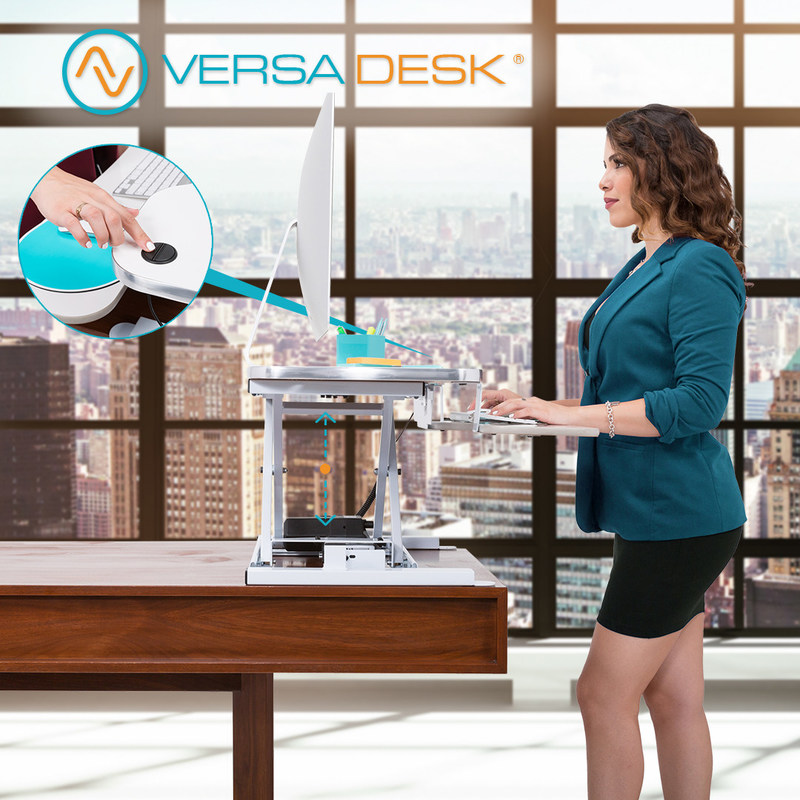 Easily raises or lower your desk with our motorized push button lift adjustment.