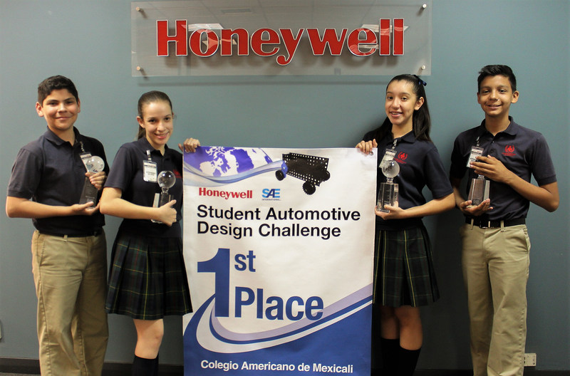 """Team members Alan Monroy, Cassandra Maese, Rocἰo Silenciario and Galo Fimbres are recognized by Honeywell for their winning """"The Emperor of Wheels"""" toy car company project in the Student Automotive Design Challenge."""