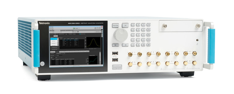 The new Tektronix AWG5200 series offers an impressive set of capabilities not previously available in the market all in one instrument, including a 10 GS/s sample rate, 16-bit resolution and up to 8 channels per unit along with support for multiple unit synchronization. It includes a flexible waveform generation plug-in suite with comprehensive coverage for a wide variety of standards and digital modulation techniques.