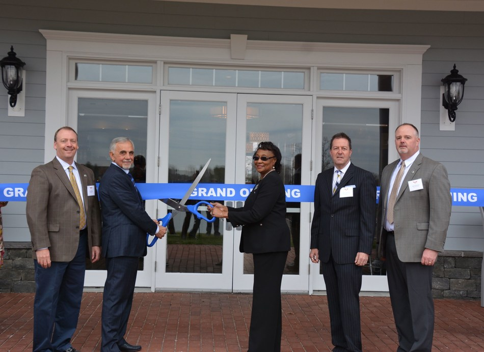 Lake Presidential clubhouse ribbon cutting on March 30, 2017. From left to right: Alex Elmore (Billy Casper Golf), Bassam Barazi (Ryko Development), Nell Johnson (Prince George's County Council), Brian Lawrence (Maryland Division of Tourism) and Joel Gohlmann (Billy Casper Golf)