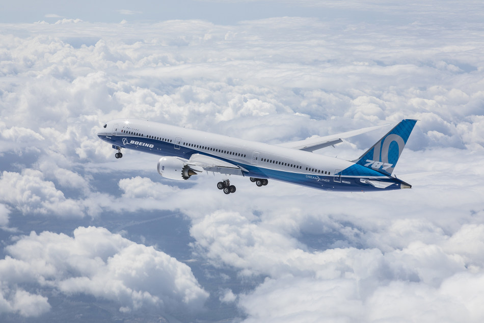 The Boeing 787-10 Dreamliner took to the skies for the first time today at Boeing South Carolina. This air-to-air photo shows the airplane during its flight.