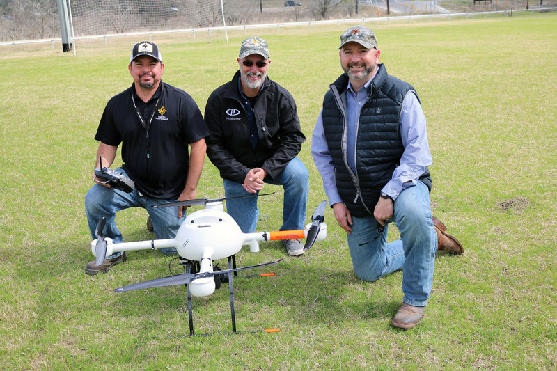 From left to right: Martin Instrument technical sales engineer, William Wilburn; Microdrones Training & Customer Support Specialist, Claude Pelletier; Martin Instrument vice president, Mike Minick.