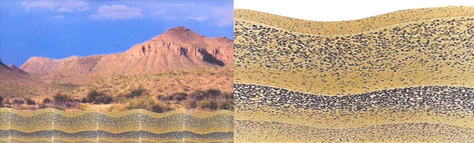 This partial polished iCON Wall Solution contains natural color tones and glass aggregate designed in a wave pattern.