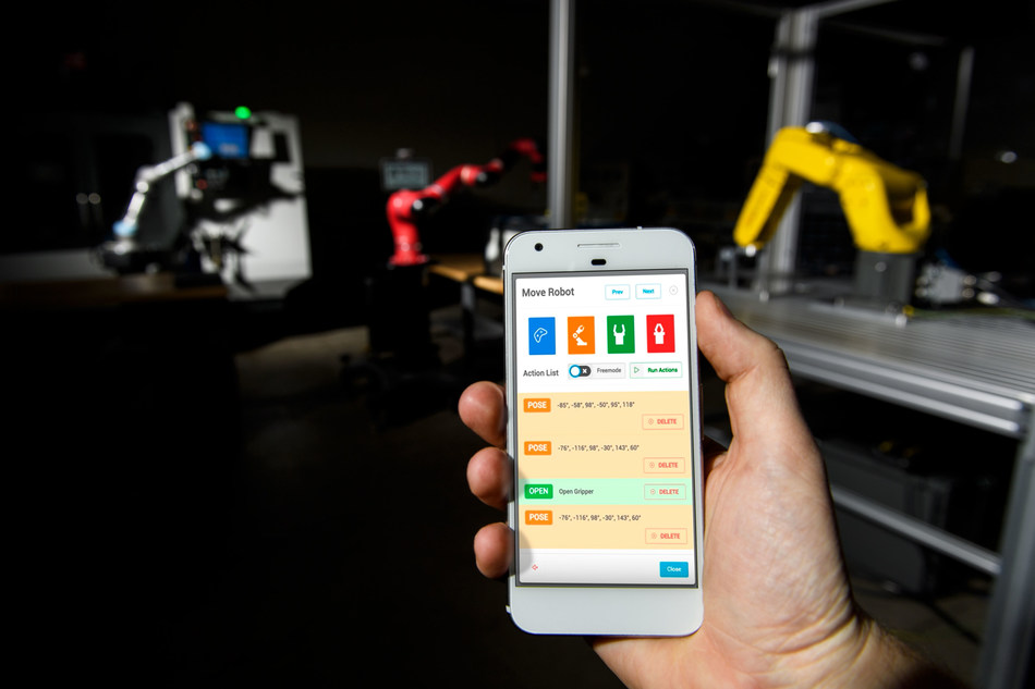 """Tend in.control(TM) (""""intelligent control"""") software is the first hardware-agnostic smart cloud robotics platform that allows manufacturers to remotely control, monitor and analyze the performance of their robots and production equipment from their mobile devices."""
