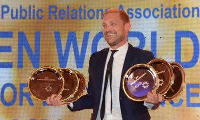 Agency Weber Shandwick celebrates multiple wins at the 2016 GWA Gala. https://www.ipra.org/golden-world-awards/gwa-gala-2016/ (PRNewsFoto/www.ipra.org)