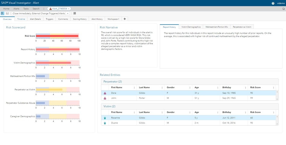 Case workers can quickly get a scorecard summary view of an alert, showing factors contributing to a risk score, as well as a narrative explaining the alert.