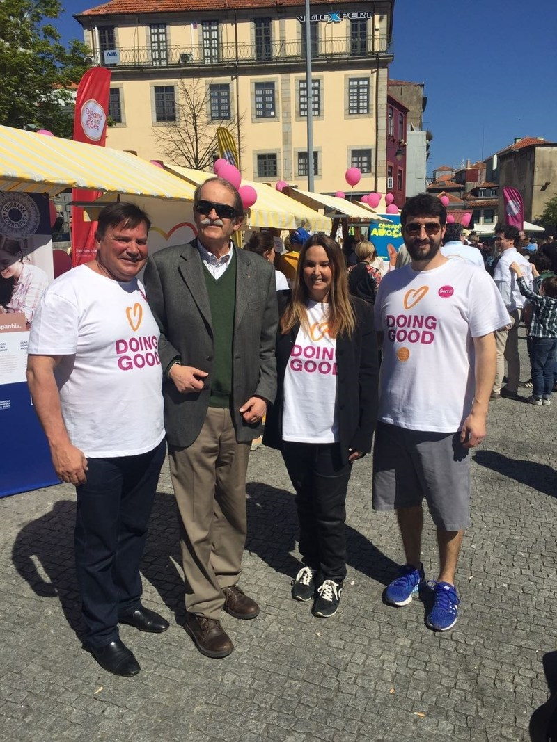 At Good Deeds Day 2017 in Porto, Portugal David Arison, businesswomen and philanthropist Shari Arison, H.R.H. Duarte Pio, the Duke of Braganza and Rafi Elul, Chairman of Good Spirit NGO (R to L) participated in a day of family activities including concerts, live painting, and yoga classes as well as an NGO fair showcasing the work of more than 30 nonprofits.