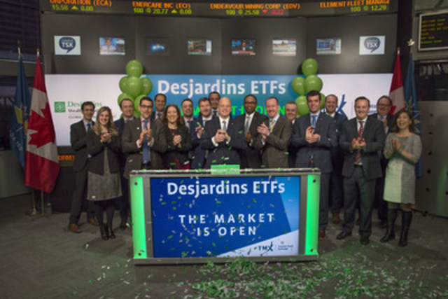 Gregory Chrispin, Executive Vice-President of Wealth Management and Life and Health insurance, Desjardins Group, and Nicolas Richard, Chief Operating Officer of Desjardins Global Asset Management Inc., joined Shaun McIver, Chief Client Officer, Equity Capital Markets, TMX Group, to open the market to launch their initial suite of seven new Exchange Traded Funds (ETFs): Desjardins Canada Multifactor-Controlled Volatility ETF (DFC); Desjardins USA Multifactor-Controlled Volatility ETF (DFU); Desjardins Canadian Universe Bond Index ETF (DCU); Desjardins Canadian Short Term Bond Index ETF (DCS); Desjardins 1-5 year Laddered Canadian Corporate Bond Index ETF (DCC); Desjardins 1-5 year Laddered Canadian Government Bond Index ETF (DCG); and Desjardins Canadian Preferred Share Index ETF (DCP). The Desjardins ETFs are exchange traded mutual funds in which Desjardins Global Asset Management Inc. acts as manager and promoter. DFC; DFU; DCU; DCS; DCC; DCG; and DCP; commenced trading on Toronto Stock Exchange on April 3, 2017. (CNW Group/TMX Group Limited)