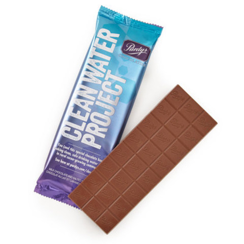 Purdys Chocolatier's Clean Water Project Bar - $2 from each bar sale funds water hygiene training and water filtration devices in Ivory Coast communities (CNW Group/Purdys Chocolatier)