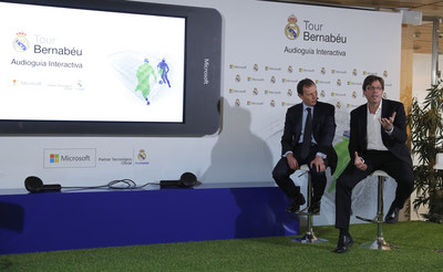 Real Madrid's director of International Relations, Emilio Butragueno (L), and Microsoft Sports' general director, Sebastian Lancestremere (R), attend the presentation of the first interactive audio guide 'Tour Bernabeu' to visit the Santiago Bernabeu stadium in Madrid, Spain, 03 April 2017. (PRNewsFoto/Microsoft)