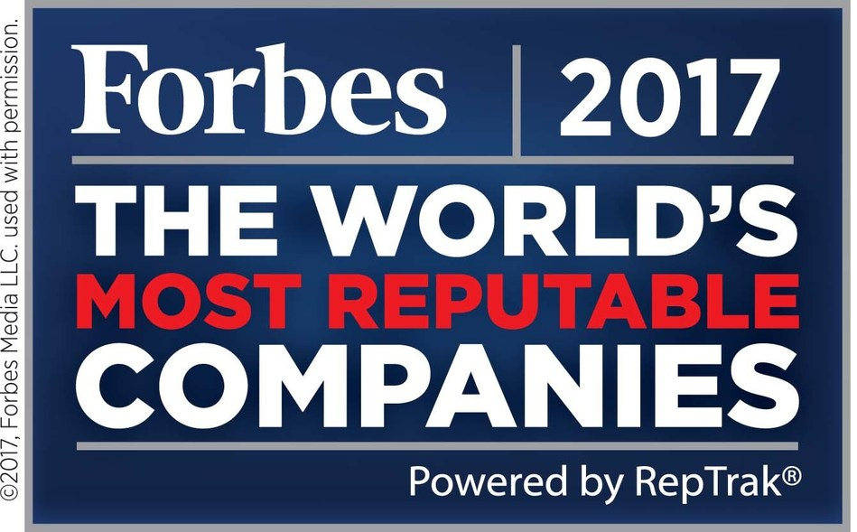 Family-owned Bacardi is named one of Forbes 2017 World's Most Reputable Companies for the fifth year in a row in the annual Global RepTrak(R) 100 list compiled by the Reputation Institute.