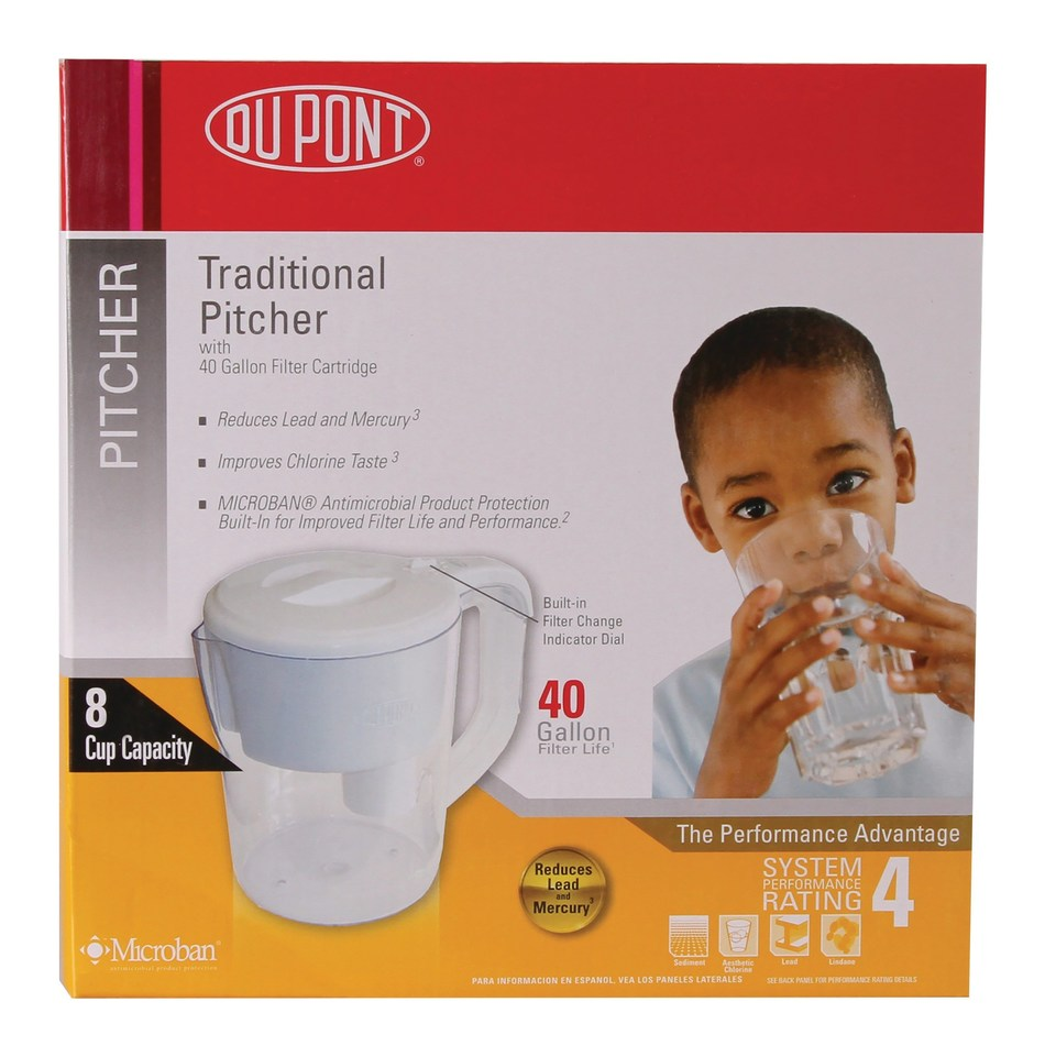 The DuPont Traditional Pitcher is certified to reduce lead, cadmium, mercury, more than 50 volatile organic compounds (VOCs), aesthetic chlorine, taste & odor, Particulate Class III. Each cartridge has a 40 Gallon filter life.