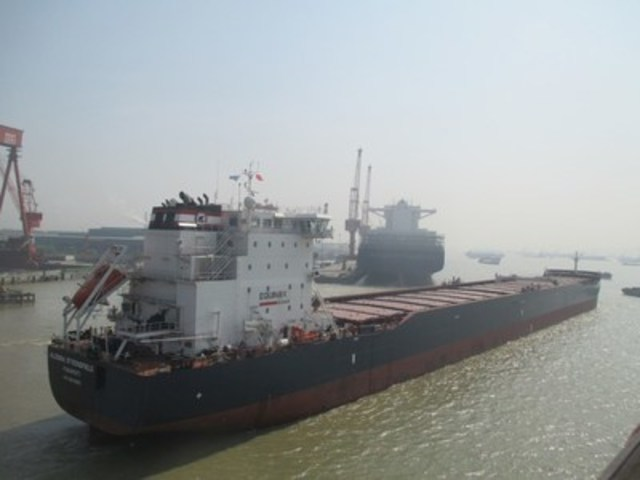 The Algoma Strongfield readies for departure from shipyard in China. (CNW Group/Algoma Central Corporation)