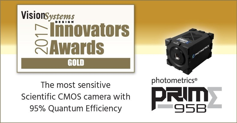 Photometrics Prime 95B Scientific CMOS Camera with 95% QE Recieves Vision Systems Design 2017 Innovators Award