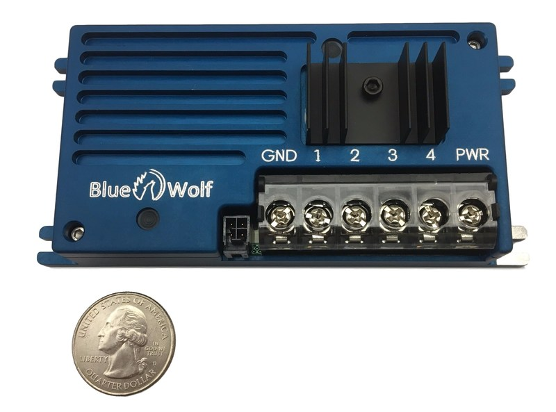 Blue Wolf's new 4 channel Remote Dimming Unit. Each channel has user configurable output curves at 2.5A/channel.