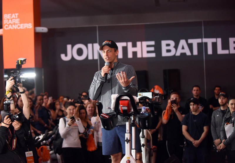 Seth Meyers, host of Late Night with Seth Meyers, joined rare cancer survivors, patients, caregivers, doctors and supporters at a Cycle for Survival event in New York on March 12, 2017. The indoor cycling rides take place across the country to raise funds for rare cancer research led by Memorial Sloan Kettering Cancer Center. (Photo by Diane Bondareff/Invision for Cycle for Survival/AP Images) (PRNewsFoto/Cycle for Survival)