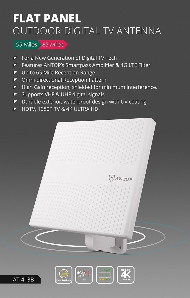 """ANTOP's AT-413B """"Pizza Box"""" outdoor TV antenna, combines the latest in digital technology with aesthetically pleasing design, delivers a crystal-clear HDTV reception to provide the best Over-The-Air TV solution for any home location. Cut the Cord, Enjoy Free TV with the AT-413B """"Pizza Box,"""" signal reach of up to 65 miles, receives free local signals from networks such as ABC, CBS, NBC, PBS, FOX and others."""
