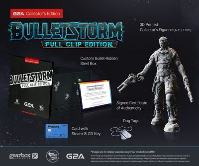 G2A Collector's Edition of Bulletstorm: Full Clip Edition includes a custom bullet-ridden steel box, Steam CD-Key, specially-made dog tags, and a limited edition 3D-printed collector's figurine with a certificate of authenticity. (PRNewsFoto/G2A.com)