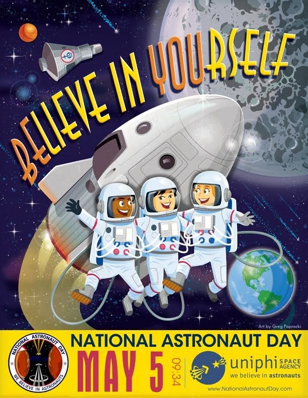"Astronaut-inspired ""Believe in Yourself"" poster for kids available as free download at www.NationalAstronautDay.com"