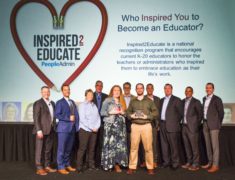 PeopleAdmin celebrates university lecturer and K-12 substitute as Inspired2Educate recipients during annual customer conference.