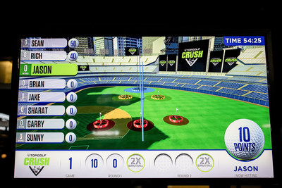 View of the game screen using Toptracer technology at Topgolf Crush