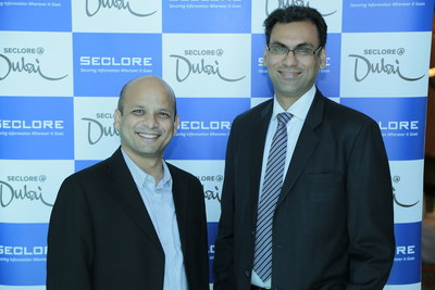 Left-right: Vishal Gupta - Founder and CEO of Seclore;  and Amit Malhotra - VP Sales for India, Middle East and Africa; at the launch of Seclore's Middle East regional office in Dubai. (PRNewsFoto/Seclore)