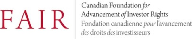 FAIR Canada (CNW Group/Canadian Foundation for Advancement in Investor Rights (FAIR Canada))