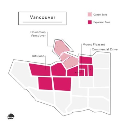 foodora Canada's newly expanded service area in Vancouver (CNW Group/foodora)