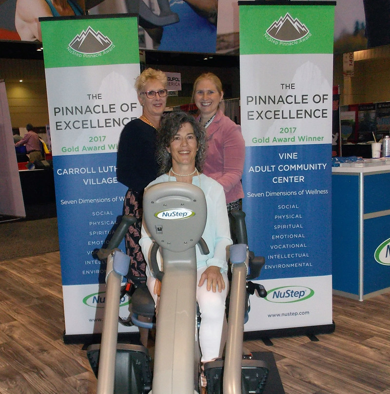NuStep's 2017 Gold Pinnacle Award winners at the International Council on Active Aging (ICAA) conference last November. Top left: Laura Sinnott, director of resident life at Carroll Lutheran Village in Westminster, MD; Top right: Jen Wunderlich, fitness coordinator at  VINE Adult Community Center in Mankato, MN; Seated: Karen Christy, wellness coordinator at VINE.