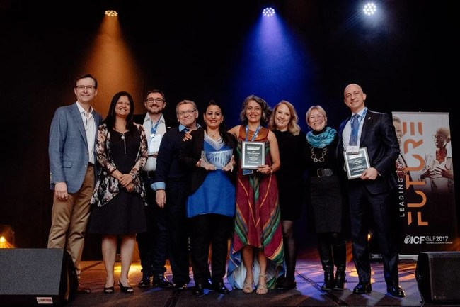 The ICF Foundation presented its 2016 Culture of Giving and Gift of Coaching Awards during a March 24, 2017, gala at the ICF Global Leaders Forum in Warsaw, Poland.