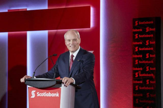 Le chef de la direction de la Banque Scotia, Brian Porter, souligne l'importance du commerce mondial et le rôle du Canada dans le développement de l'« économie numérique » lors de la 185e assemblée générale annuelle de la Banque Scotia (Groupe CNW/Scotiabank)