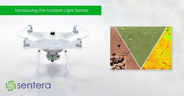 Sentera's Incident Light Sensor, calculating absolute vegetation health regardless of cloud covering or timing