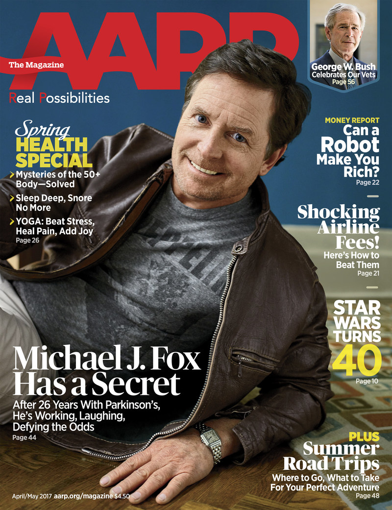Michael J. Fox on the cover of AARP The Magazine's April/May Issue