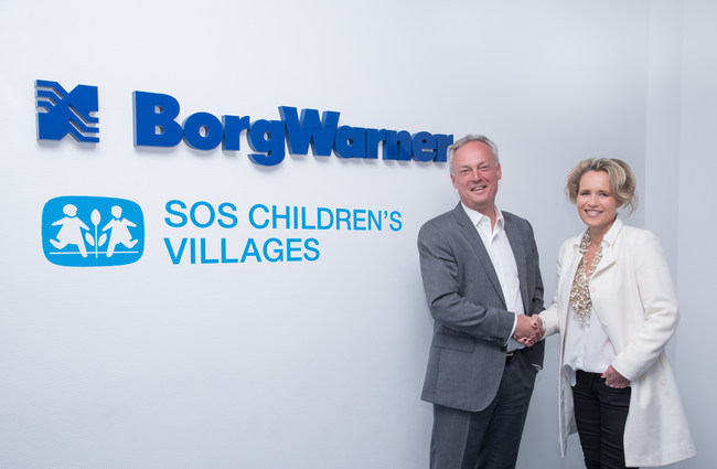 Frederic Lissalde, President and General Manager, BorgWarner Turbo Systems, and employees throughout the global business are looking forward to a successful long-term partnership with SOS Children's Villages, represented by Sabine Fuchs, CEO SOS Children's Villages Global Partner GmbH.