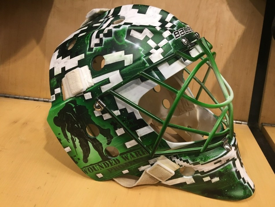 Dallas Stars goalie Kari Lehtonen's custom helmet was recently put up for auction, with funds from the sale going to support Wounded Warrior Project.