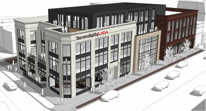 New construction at the site of the UDF building, 900 N. High Street in The Short North, will host a 22,000 square foot Serendipity Labs on two floors. (Photo: Elford Development, Columbus, OH)