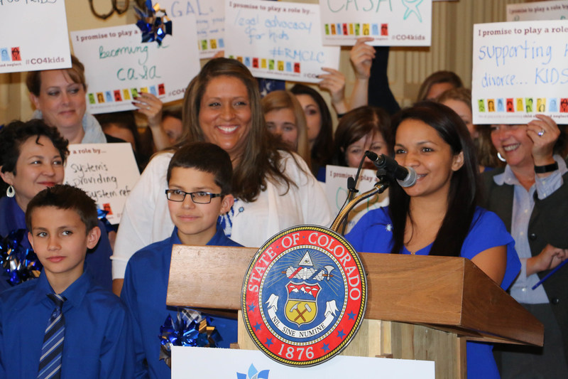 Former foster child, Janelle Marquez, shares her story at the National Child Abuse Prevention Month kick off event in Denver. She was joined by Lieutenant Governor Donna Lynne, Colorado Department of Human Services Executive Director Reggie Bicha as well as hundreds of community partners, county leaders and child advocates in an effort to raise awareness of child abuse and neglect.