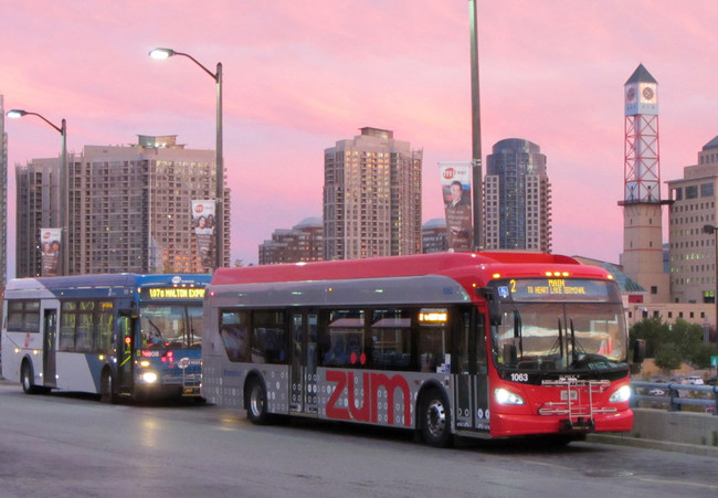An EMTRAC-equipped rapid-transit bus in Brampton, Ontario (photo credit, Sean Marshall)