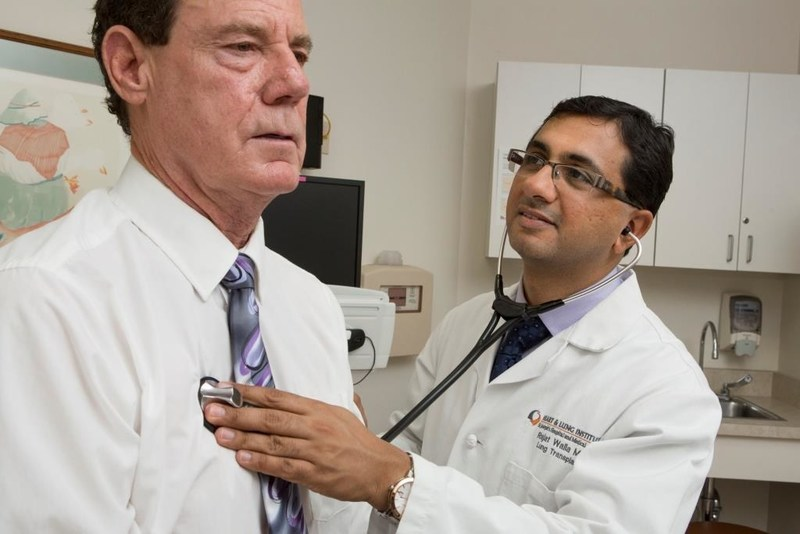The sixth patient to receive a lung transplant at Dignity Health St. Joseph's Norton Thoracic Institute, Norm Lydiard is examined by St. Joseph's pulmonologist Dr. Rajat Walia. Lydiard is now 10 years post-transplant and continues to make plans for his future.