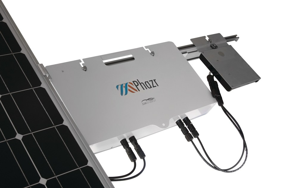 Phazr sits on the racking behind the solar panel and next to the inverter. The design eliminates installation costs and makes solar storage seamless.