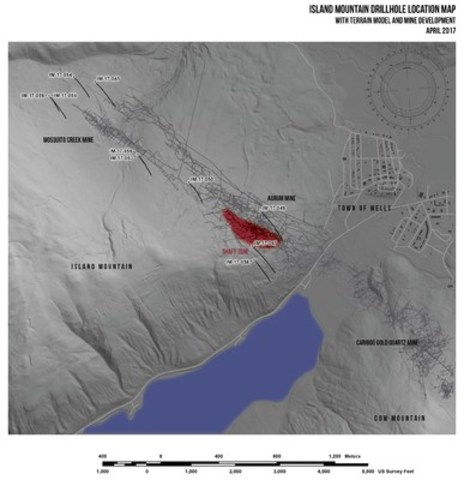 Island Mountain Drillhole Location Map with Terrain Model and Mine Development, April 2017 (CNW Group/Barkerville Gold Mines Ltd.)