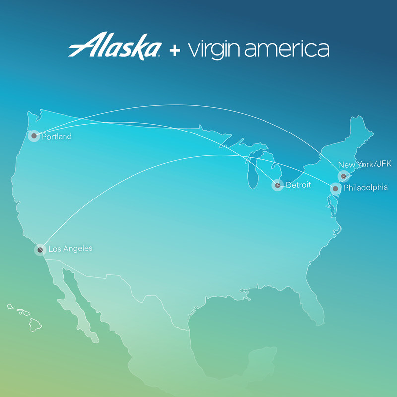 Alaska Airlines and Virgin America add new routes from Portland, Oregon and Los Angeles