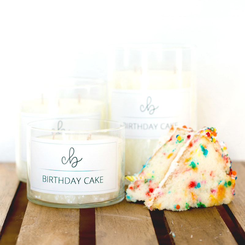 Palm wax candle smelling of buttercream frosting on a luscious white cake.