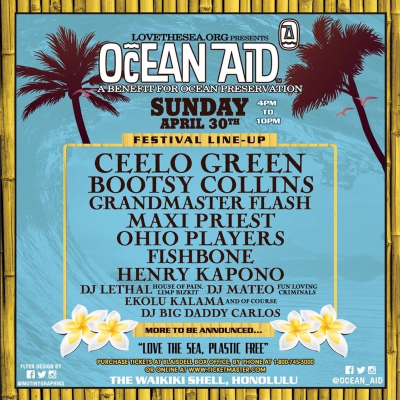 Ocean Aid concert Honolulu, April 30, 2017to benefit Love the Sea, an organization dedicated to help free the oceans of plastics and other pollutants.