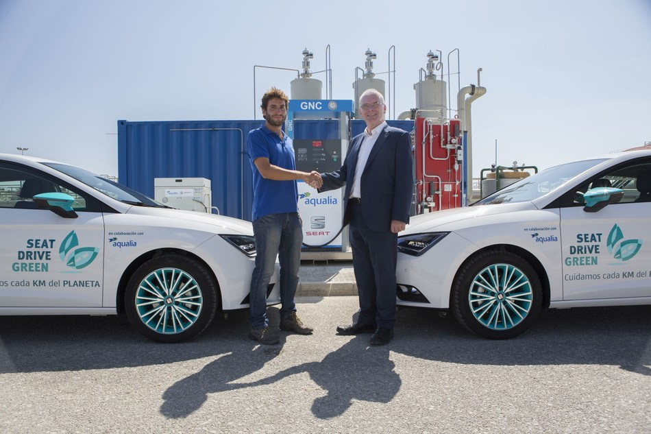 SEAT and Aqualia create an alternative fuel for cars for the first time from wastewater (PRNewsfoto/SEAT)