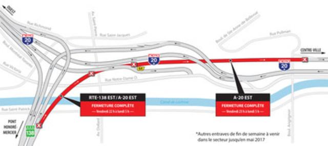 Fermeture Turcot-Montréal-Ouest FDS du 7 avril (Groupe CNW/Ministère des Transports, de la Mobilité durable et de l'Électrification des transports)