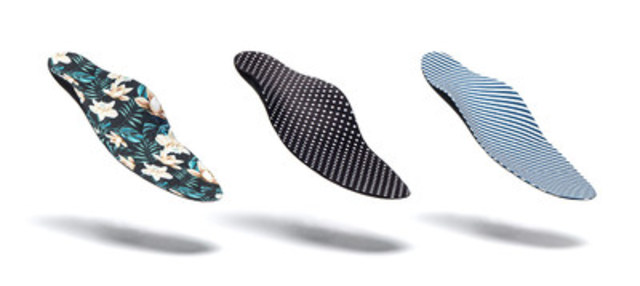 """The Équilibre banner —- the largest network of orthotists and inhalotherapists in Quebec - —is once again enhancing its offering with the exclusive launch of the new plantar orthosis """"Chic!"""". With its thin and tapered special design, """"Chic!"""" is made to be worn with high heels and dress shoes. Built with a new material that's both waterproof and breathable, the """"Chic!"""" orthosis is available in a range of fashionable designs. Patients can now be chic to the tips of their toes with one of the three limited-edition, spring-inspired patterns: polka dots, stripes, or floral. (CNW Group/Ergoresearch Ltd)"""