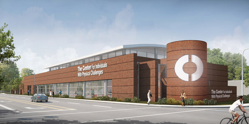 Rendering by KKT Architects of the new Hardesty Adaptive Sport Complex. View is of corner of 11th and Utica in Tulsa, OK.