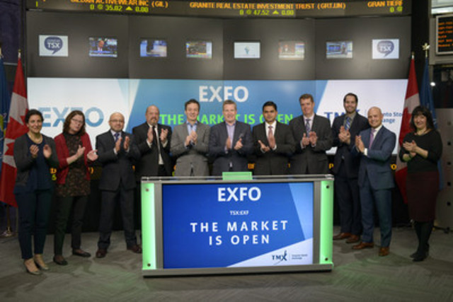 Philippe Morin, Chief Executive Officer, EXFO Inc. (EXF), joined Loui Anastasopoulos, President, TSX Trust and Managing Director, TSX Company Services, TMX Group, to open the market. EXFO Inc. is a provider of next-generation test and service assurance solutions for wireless and wireline network operators and network equipment manufacturers in the global telecom industry. EXFO employs approximately 1600 people in 25 countries, supporting over 2000 telecom customers worldwide. EXFO Inc. commenced trading on Toronto Stock Exchange on July 5, 2000. (CNW Group/TMX Group Limited)