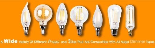 New Bulbrite LED Filament Bulbs fully compatible on all major dimmer types.